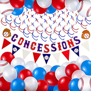 62 Pieces Baseball Themed Party Supplies Including 1 Baseball Party Banner, 1 Triangle Bunting Flag, 20 Red and Blue Spira...