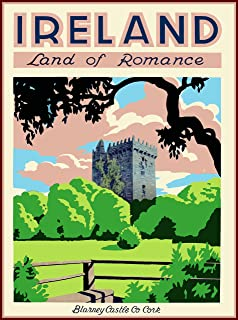 A SLICE IN TIME Ireland Land of Romance Blarney Castle Co Cork Great Britain Vintage Irish Travel Art Wall Home Decor Collectible Poster Print. 10 x 13.5 inches.