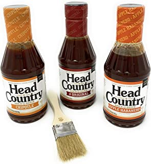 Head Country BBQ Sauce Variety Pack - Original, Chipotle, Apple Habanero perfect barbecue for marinade, grilling or dipping Voted #1 in Oklahoma (Original, Chipotle, Apple Habanero)