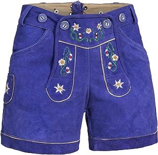 Mufimex Damen Trachten Lederhose Trachtenlederhose Trachtenhose Shorts Bunte Blümchen