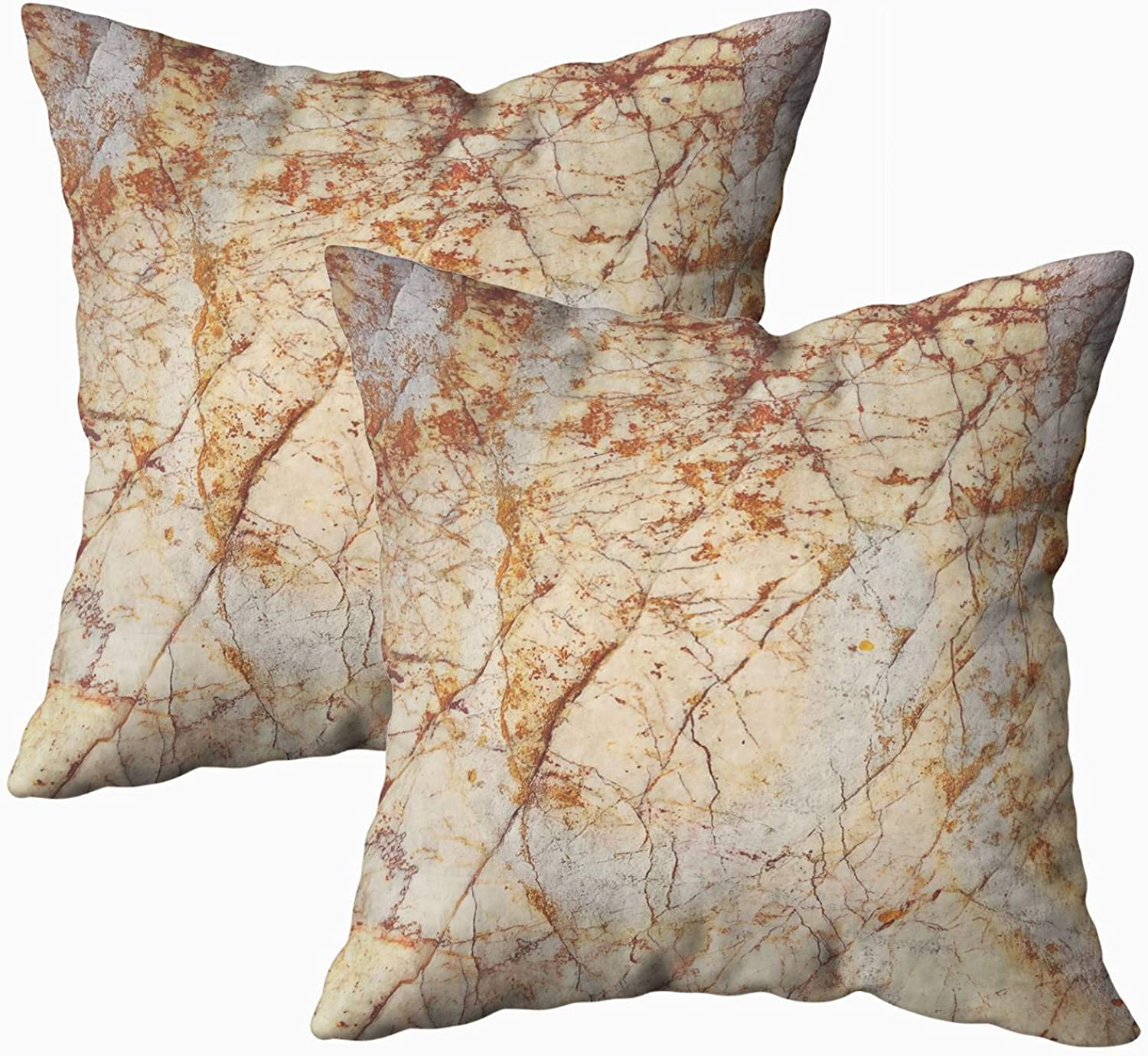 Yecationy Throw Pillows, Square Lumbar Pillow Cover color Abstract Natural Marble Patterned Texture Background Home Decorative Pillow Covers 18X18 Pillow Cases,2PCS