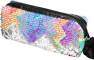Phogary Glitter Cosmetic Bag Mermaid Spiral Reversible Sequins Portable Double Color Students Pencil Case for Girls Women Handbag Purse Make Up Pouch with Pompon Zip Closure (Colorful)