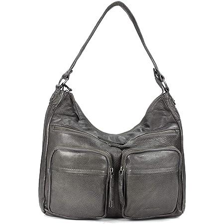 FREDsBRUDER Funtastic Ledertasche Handtasche Damen Umhängetasche Schultertasche - 34x32x9 cm (B x H x T) (Antracite)