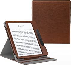 MoKo Case Fits All-New Kindle Oasis (9th and 10th Generation ONLY, 2017 and 2019 Release), Multi Angle Viewing Vertical Flip Cover with Auto Wake/Sleep - Brown