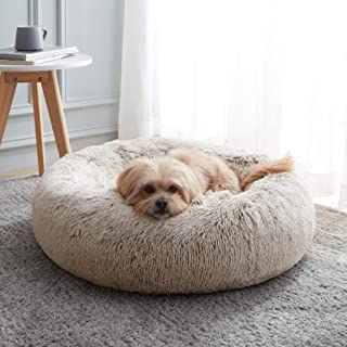Calming Dog Bed & Cat Bed, Anti-Anxiety Donut Dog Cuddler Bed, Warming Cozy Soft Dog Round Bed, Fluffy Faux Fur Plush Dog ...