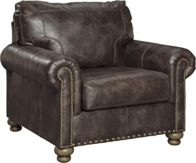 Benjara Faux Leather Upholstered Chair with Nailhead Trim and Rolled Armrest, Brown