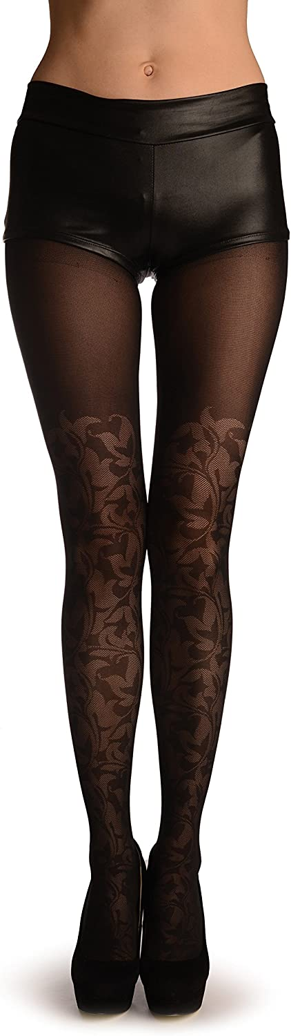 Black With Semi Transparent Woven Leaves Over The Knee - Black Pantyhose (Tights)