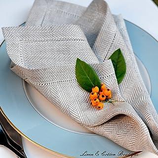 Linen & Cotton Lot de 4 Serviettes de Table Ajouré OXFORD, 100% Lin - Beige/Naturel (44 x 44cm)