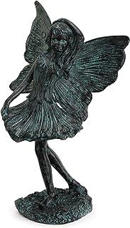Napco Prancing Fairy Girl In Blue Patina Finish 7 x 11 Resin Stone Garden Figurine
