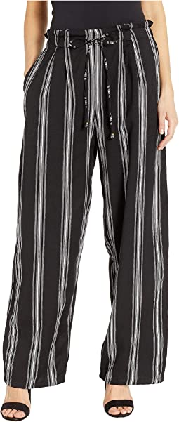Twill Striped Pants with Front Tie