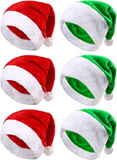 Aneco 6 Pack Christmas Santa Hat Short Plush with White Cuffs Plush Fabric Santa Hat for Christmas Festive Holiday Party Supplies (Red/Green)
