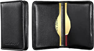 Business Card Holder, Wisdompro 2-Sided Genuine Leather Professional Folio Credit Name Card Holder Wallet Case with Magnetic Shut for Men and Women, Ultra Slim and Thin - Cowhide Black