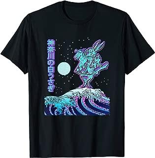 White Rabbit & Kanagawa Wave | Surreal Japanese Art Mashup T-Shirt