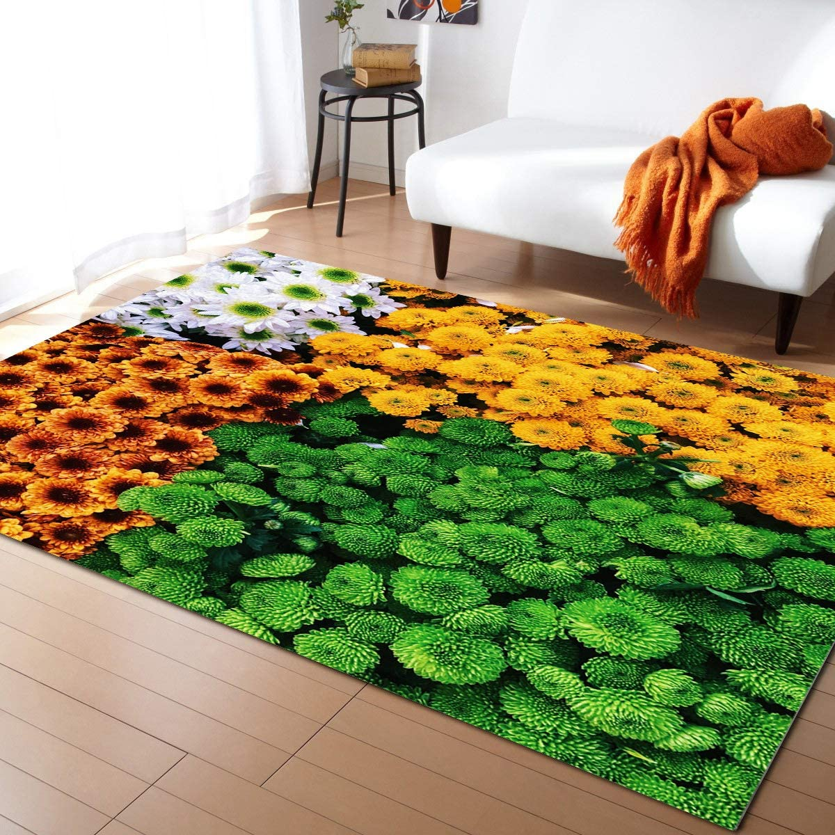 Area Rugs Non Slip Indoor Spring San Antonio Mall Floor Super beauty product restock quality top Flower Chrysanthe Carpet