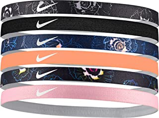NIKE Women's Printed Assorted Headbands – 6 Pack (Black/Obsidian, One Size)