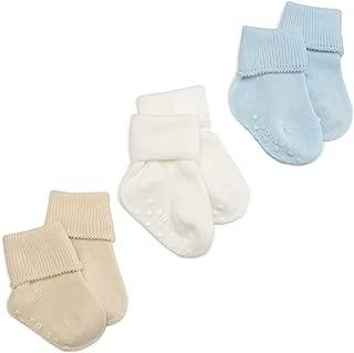 Organic Cotton Turn Cuff Sock, 3 Pack, Light Blue/Natural/White