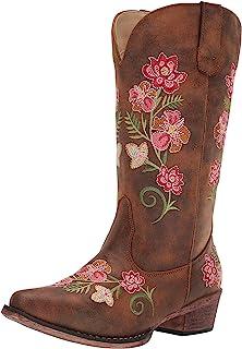حذاء Riley Floral Fashion للنساء من Roper ، أسمر ضارب للصفرة، 6. 5 D US