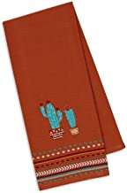 Design Imports Southwest Table Linens, 18-Inch by 28-Inch Dishtowel, Cactus Embroidered