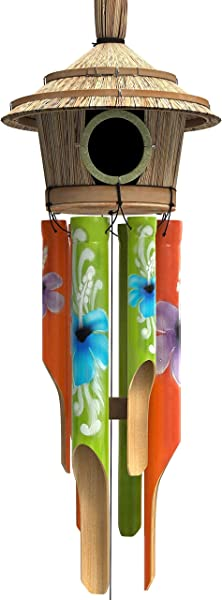 Nalulu House Wind Chime Bamboo Wooden Wood Painted Outdoor Relaxation Ready
