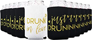 Drunk In Love & Just Drunk Bachelorette Party Can Coolers, Set of 12 White and Mint Green Beer Can Coolies, Perfect Bachelorette Party Decorations and Brides Maid Gifts (Black)