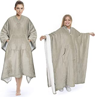 Sherpa Poncho Blanket Super Soft Comfy Plush Wearable Fleece Blanket for Adult Women Men Kids Throw Wrap Cover Indoors or Outdoors, 55''x 80'' Camel