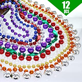 GIFTEXPRESS 12 Pack of 33 Mardi Gras Multicolored Metallic Bead Necklaces, Multicolor Assorted Style Mardi Gras Beads Necklaces for Christmas, St Patricks's Day, Party Beads, Costume Jewelry