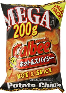 Calbee Mega Potato Chips - Hot and Spicy Flavor, 7.05 Ounce (Pack of 2)