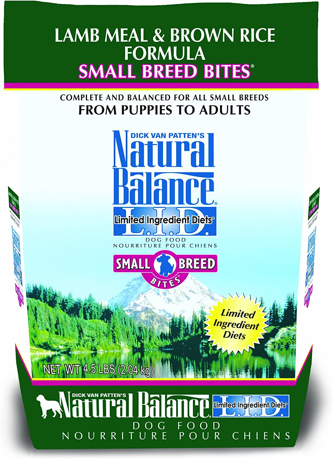 Dick Van Patten's Natural Balance Limited Ingredient Diets Lamb Meal and Brown Rice Formula Small Breed Bites Dry Dog Food, 4.5Pound Bag by Natural Balance