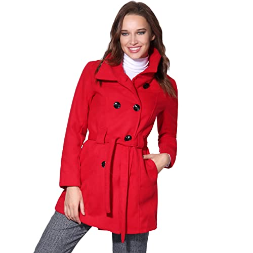 Women Warm Winter Parka Belted Fitted Ladies Military A Line Woollen Coat Jacket