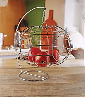 """Circleware 54047 Cage Apple Shaped Hanging Fruit Basket Holder, Home and Kitchen Utensils Countertop Organizer Display for Produce, Vegetables and Snacks, 12.99"""" X 12.99"""" X 16.14"""", Silver"""