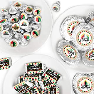 Big Dot of Happiness Happy Kwanzaa - Mini Candy Bar Wrappers, Round Candy Stickers and Circle Stickers - African Heritage Holiday Candy Favor Sticker Kit - 304 Pieces