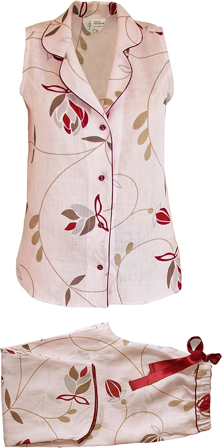 Armani International Brigitte Sleeveless Pajama Soft Linen   Made in Europe