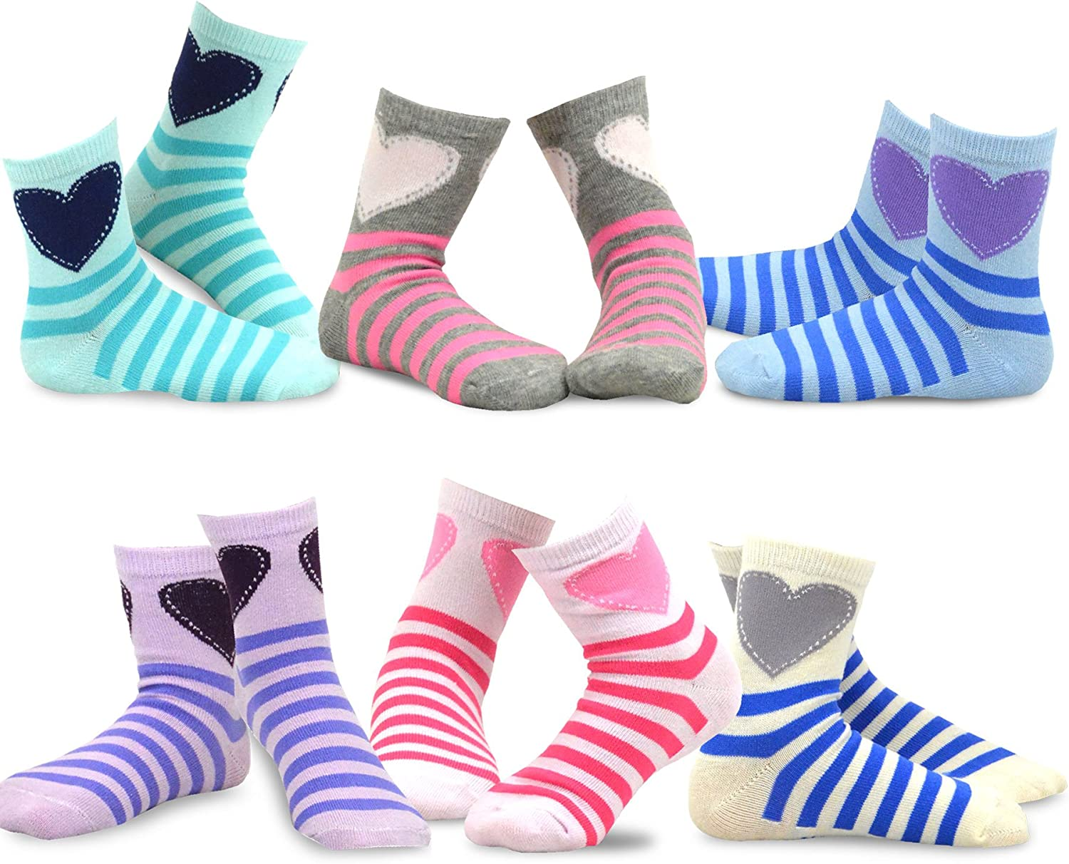 TeeHee Little Girls Stripes Fashion Cotton Short Crew 6 Pair Pack (9-10 Years, Stripes and Heart)