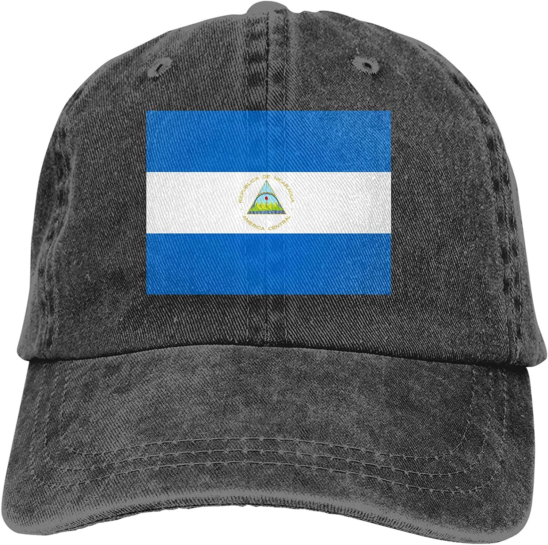 CUTEDWARF Flag of Nicaragua Unisex Adjustable Cotton Baseball Hat Cowboy Cap Dad Hats Denim Trucker Hat