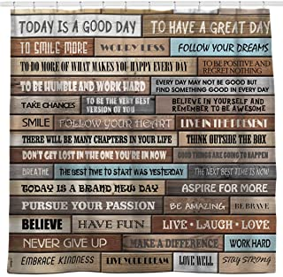 Sunlit Inspirational Motivational Happiness Quotes for Courage Be Awesome Poster Print Rustic Cabin Shower Curtain Teak Closet Curtain Home Bathroom Decor Fabric Quote Tapestry