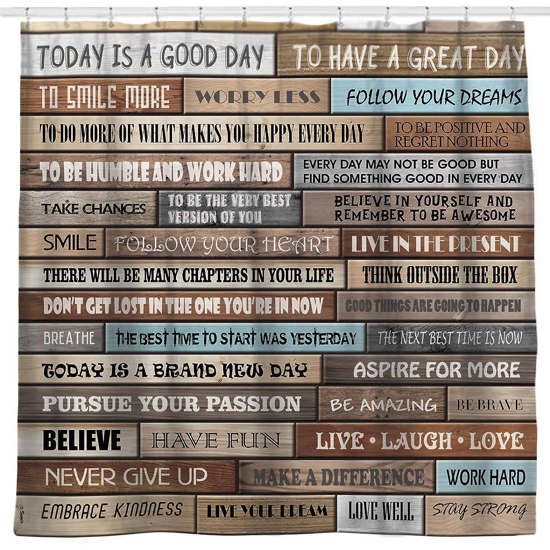 広々大理石聖域(Quotes Wood) - Sunlit Inspirational Motivational Happiness Quotes for Courage Be Awesome Poster Print Rustic Cabin Shower Curtain Teak Closet Curtain Home Bathroom Decor Fabric Quote Tapestry