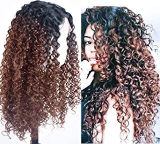 Annivia Dark Brown Deep Curly Long Lace Front Wigs for Black White Women Ombre Dark Roots Heat Resist Quality Synthetic Curly Lace Front Wig Middle Part 22inch (TT1B/4)