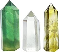 Set of 3 Crystal Wands of Clear Quartz, Yellow Quartz & Fluorite Stone,Pointed & Faceted for Healing Reiki Chakra Meditation Therapy Decor