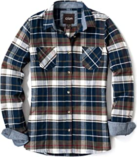 CQR Women's Flannel Long Sleeved Button-Up Plaid All-Cotton Brushed Shirt