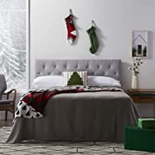 """LUCID Mid-Rise Upholstered Headboard - Adjustable Height from 34"""" to 46"""", Full, Stone"""