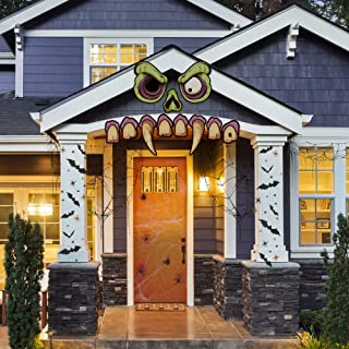 Mad Monster Face - Outdoor Halloween Haunted House Party Decoration - Large, Scary Zombie Home Decor - Garage Door, Car, Funny, Creative Decoration - 11 Easy Hang Pieces 8.5
