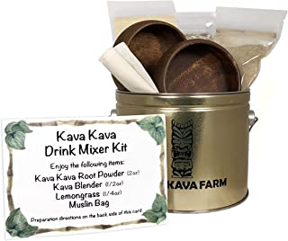KONA KAVA FARMS Kava Kava Starter Kit For Two | Complete Authentic Kava Kava Starter Set for Natural Relaxation, Stress and Anxiety Relief | Includes Hawaiian Kava Powder and Acacia Wood Kava Bowls