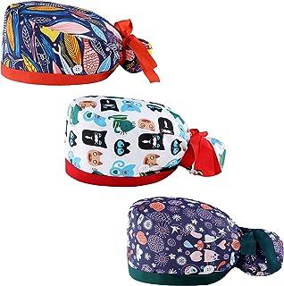 3 قطع من قبعات العمل U&V مع زر وعصابة رأس، قبعة عمل قابلة للتعديل للنساء والرجال