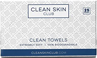 Clean Skin Club - Clean Towels   Worlds 1ST Biodegradable Face Towel   Disposable Makeup Removing Wipes   100% Organic Viscose   25CT   Super Soft For Sensitive Skin   Dry Cleanser Towelettes