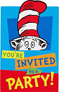 'Amscan Dr. Seuss Invitations, Includes Paper Cards, Envelopes and Stickers, 8 Count