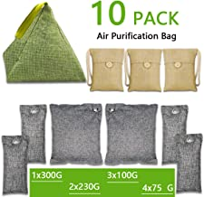 wyewye Bamboo Charcoal Air Purifying Bags 10 Pack (1X300g,2X230g,3X100g,4X75g), Natural Air Freshener Bag - Activated Bamboo Charcoal Bags for Car Kitchen Closet and Shoes