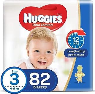 HUGGIES Ultra Comfort Diapers, Size 3, Jumbo Pack, 4-9 kg, 82 Diapers