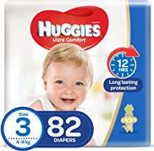 Huggies Ultra Comfort, Size 3, 4-9 kg, Jumbo Pack, 82 Diapers