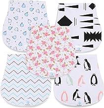JCube&P Baby Burp Cloths - 100% Organic Cotton Burp Clothes with Fleece - Soft & Absorbent Curvy Burp Rags - Cute 5-Pack Baby Shower Gift Set Burp Towels- Newborns & Infants Burping Cloths (Peace)