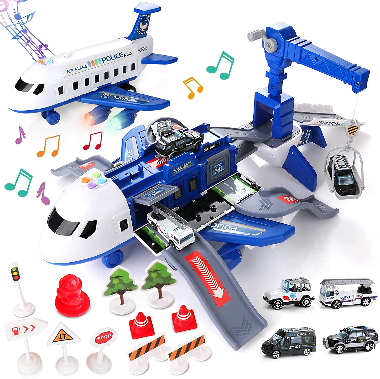 Airplane Toys Set with Transport Cargo 4pcs Policing Theme Vehicles Blue